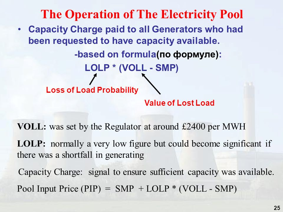 The Operation of The Electricity Pool