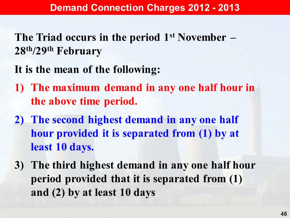 Demand Connection Charges 2012 - 2013