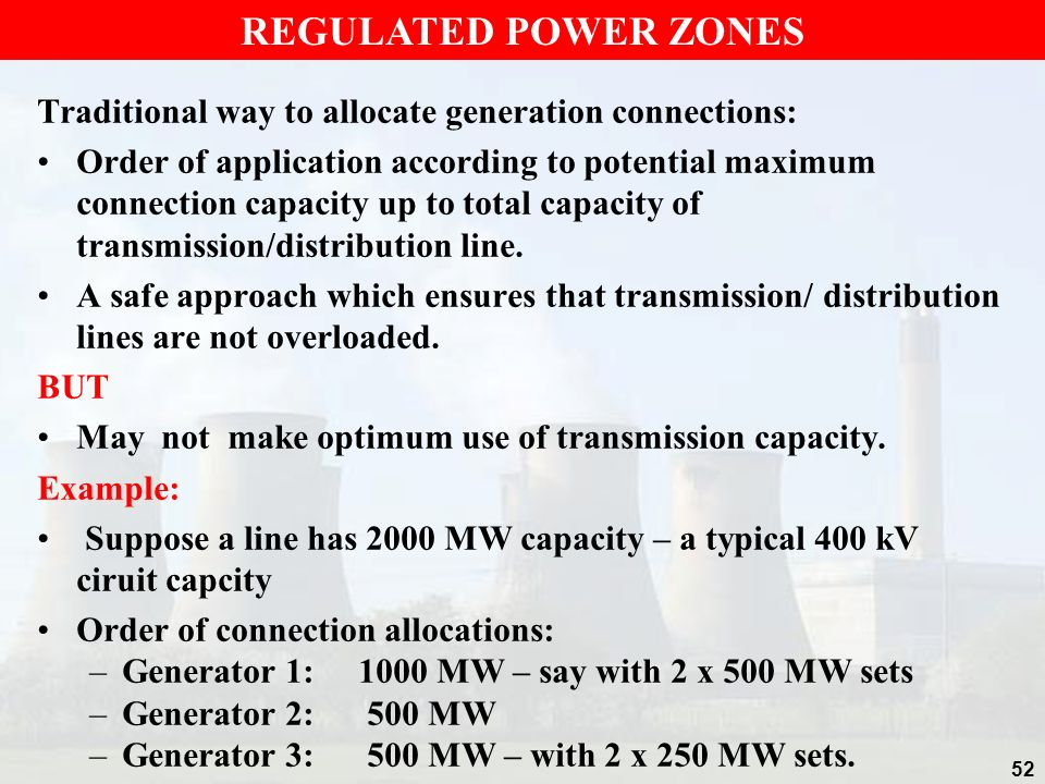 REGULATED POWER ZONES Traditional way to allocate generation connections: