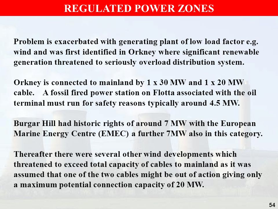 REGULATED POWER ZONES