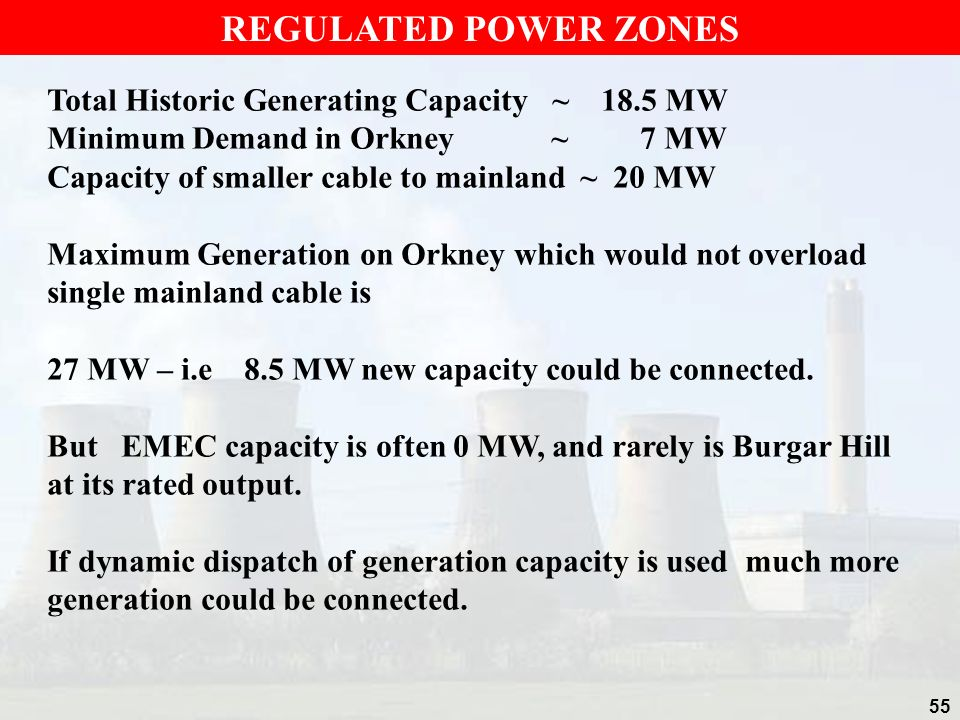 REGULATED POWER ZONES Total Historic Generating Capacity ~ 18.5 MW