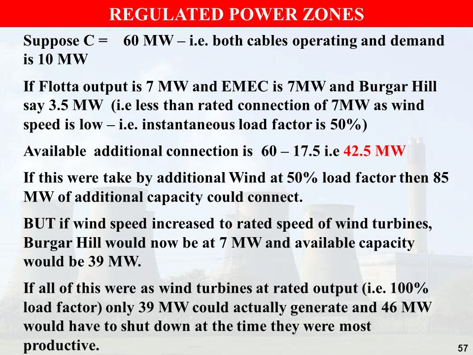 REGULATED POWER ZONES Suppose C = 60 MW – i.e. both cables operating and demand is 10 MW.