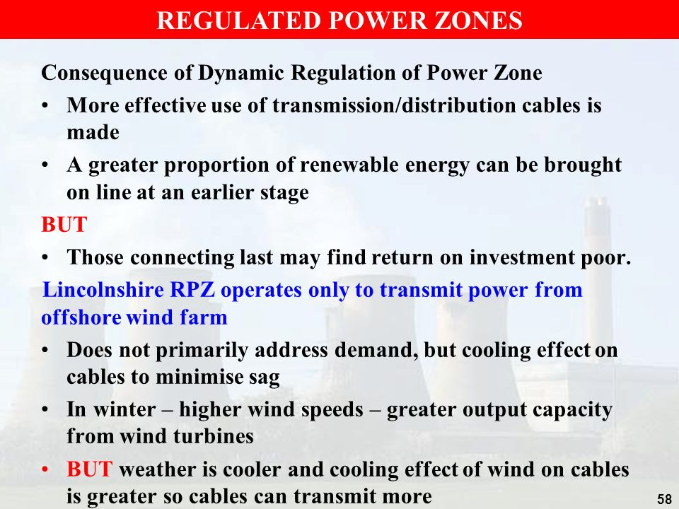 REGULATED POWER ZONES Consequence of Dynamic Regulation of Power Zone