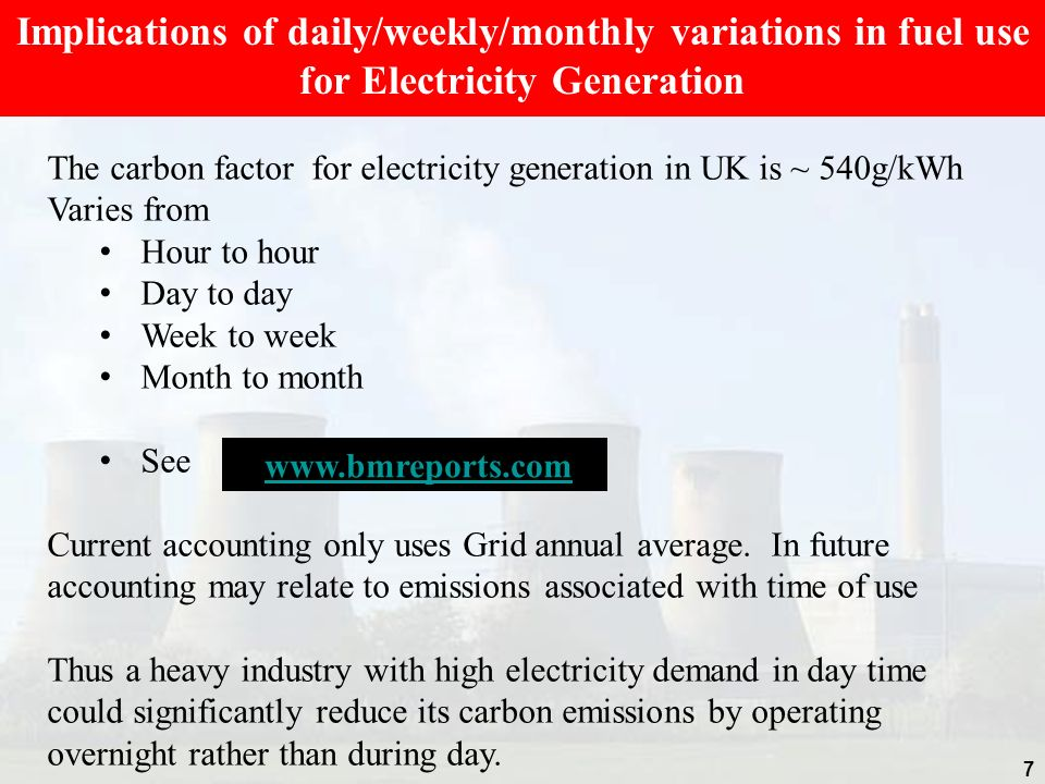 Implications of daily/weekly/monthly variations in fuel use for Electricity Generation