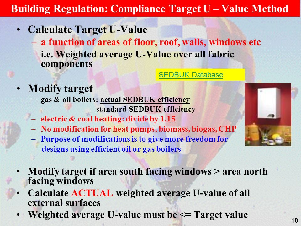 Building Regulation: Compliance Target U – Value Method