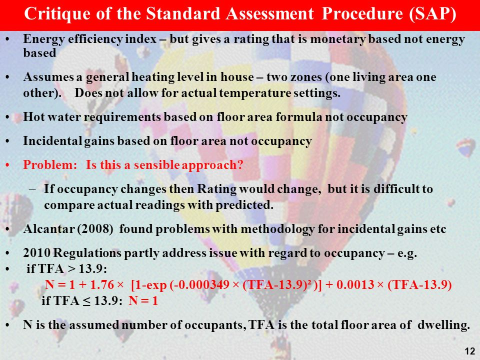Critique of the Standard Assessment Procedure (SAP)
