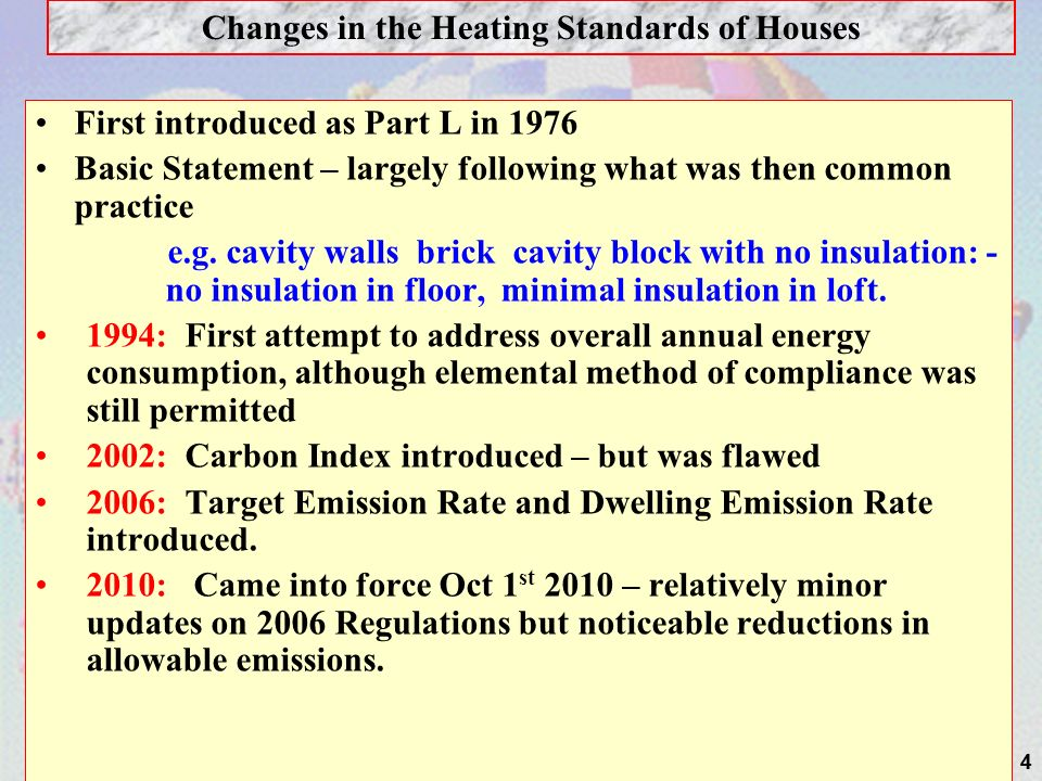 Changes in the Heating Standards of Houses