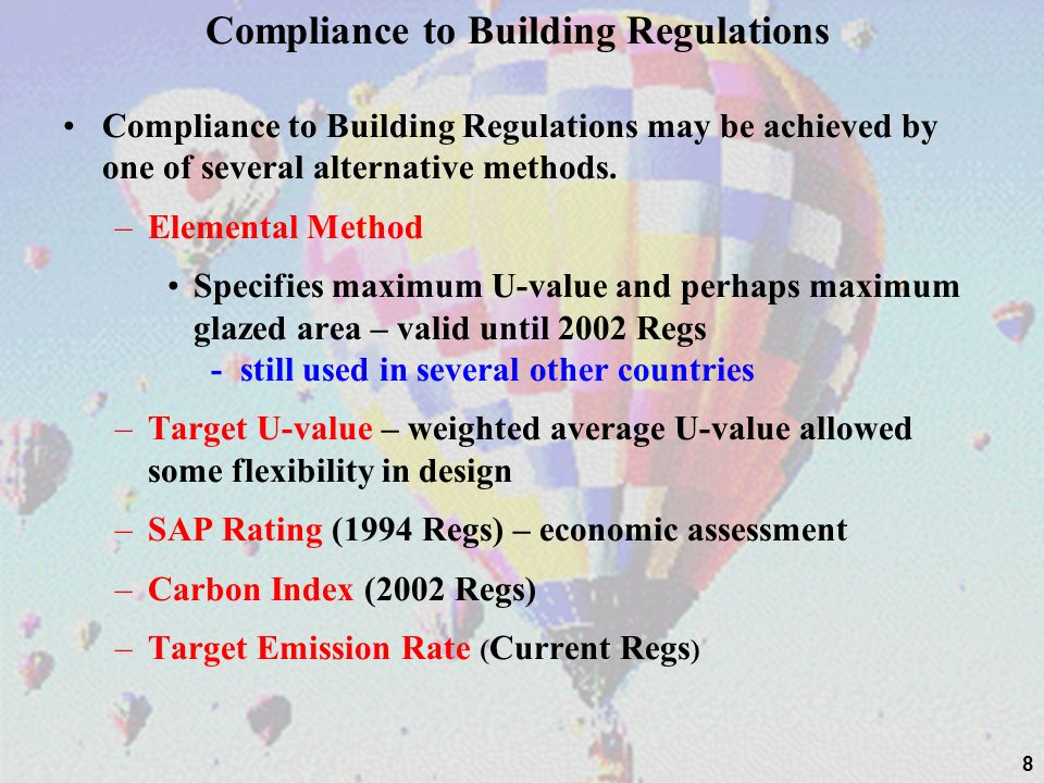 Compliance to Building Regulations