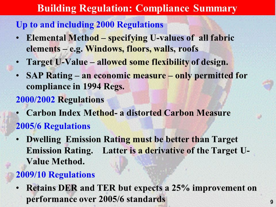 Building Regulation: Compliance Summary
