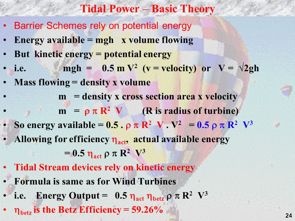 Tidal Power – Basic Theory