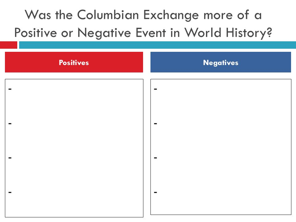 positive and negative things about the columbian exchange The primary negative effects of the columbian exchange were death, disease, and slavery positive effects included the incorporation of european methods of agriculture, and the introduction to the.