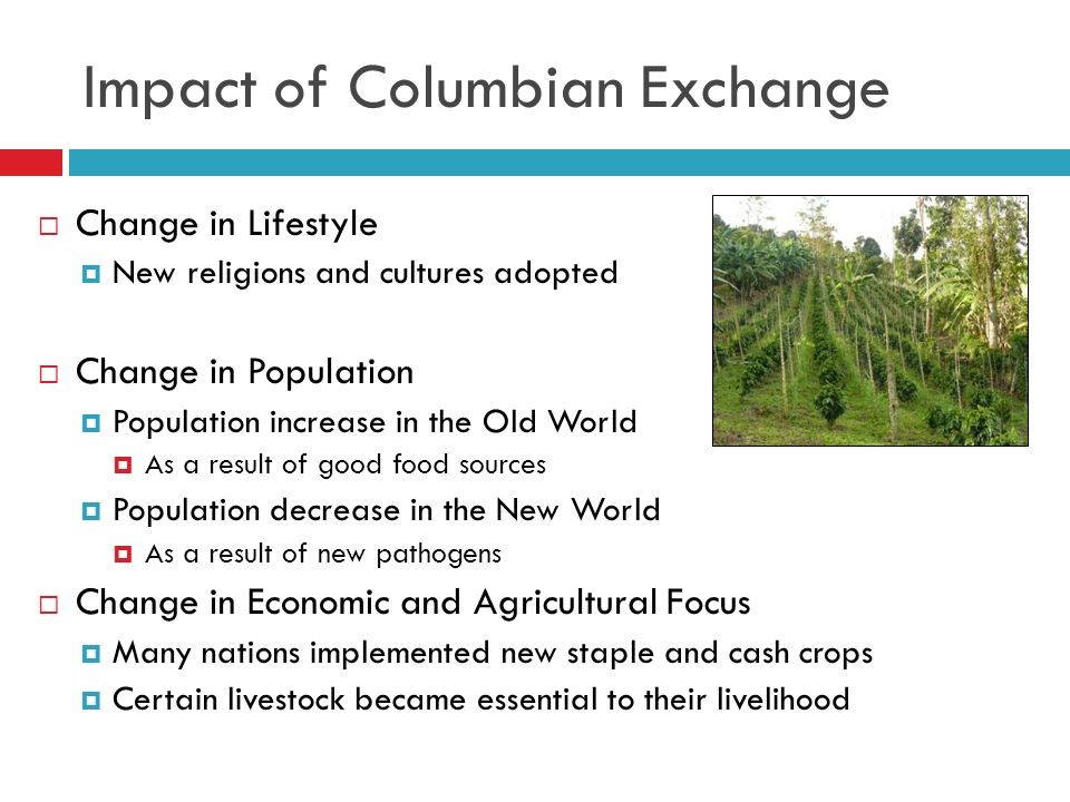 columbian exchange effects The columbian exchange refers to the interchange of diseases, crops, and ideas  between the new and old world after christopher columbus's initial voyage to.