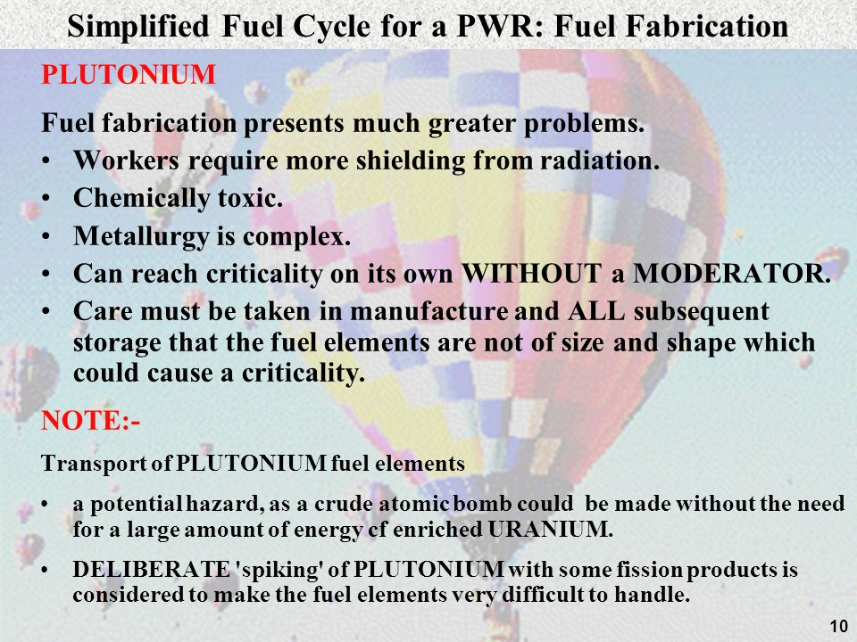 Simplified Fuel Cycle for a PWR: Fuel Fabrication