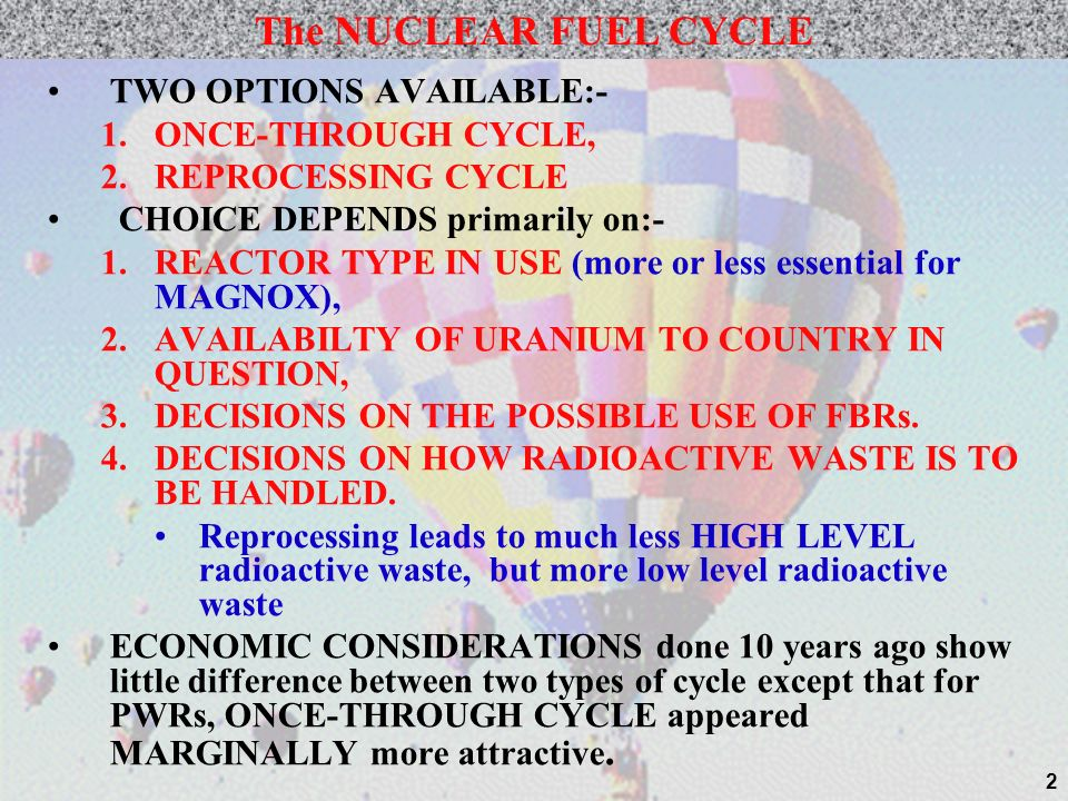 The NUCLEAR FUEL CYCLE TWO OPTIONS AVAILABLE:- ONCE-THROUGH CYCLE,