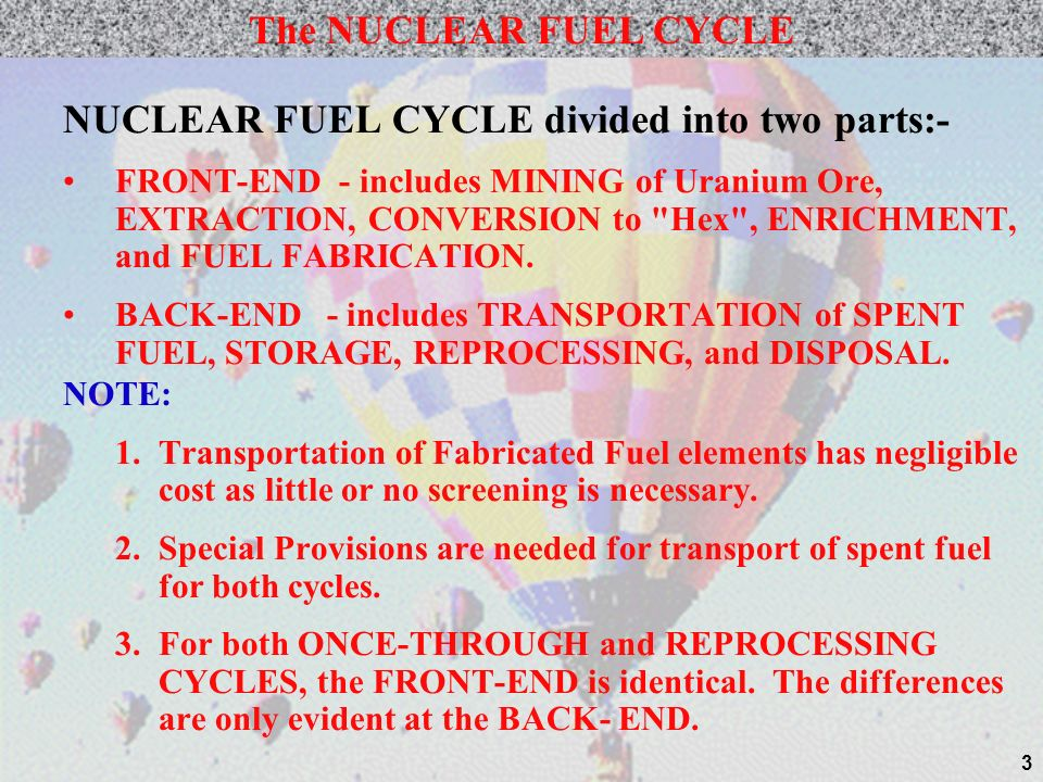 NUCLEAR FUEL CYCLE divided into two parts:-