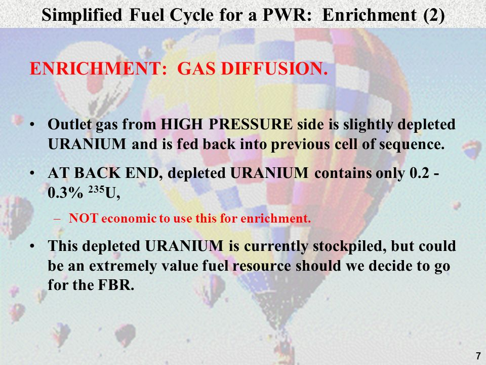 Simplified Fuel Cycle for a PWR: Enrichment (2)