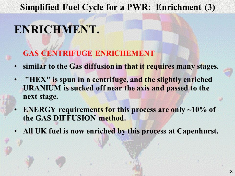 Simplified Fuel Cycle for a PWR: Enrichment (3)
