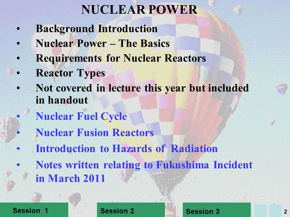 NUCLEAR POWER Background Introduction Nuclear Power – The Basics
