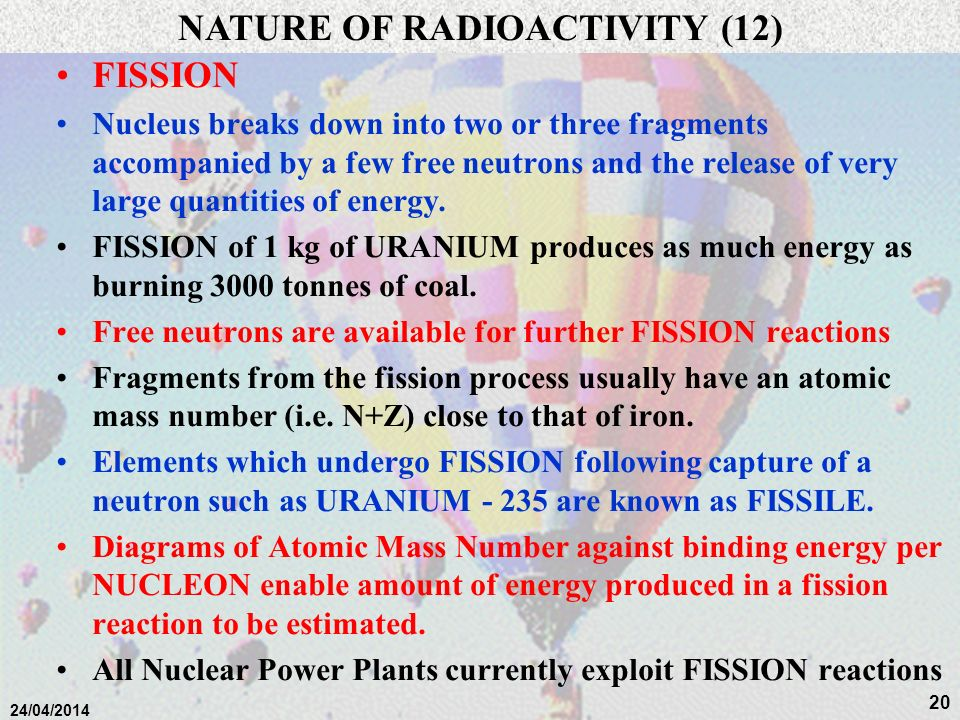 NATURE OF RADIOACTIVITY (12)