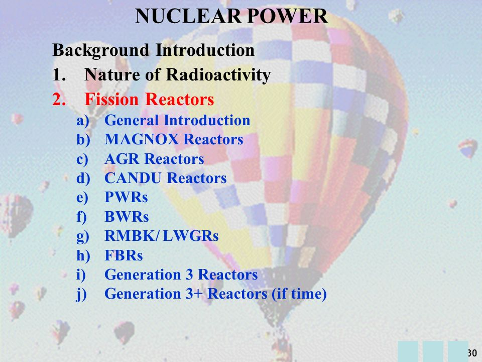 NUCLEAR POWER Background Introduction Nature of Radioactivity