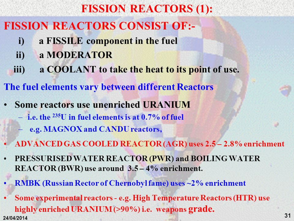 FISSION REACTORS CONSIST OF:-