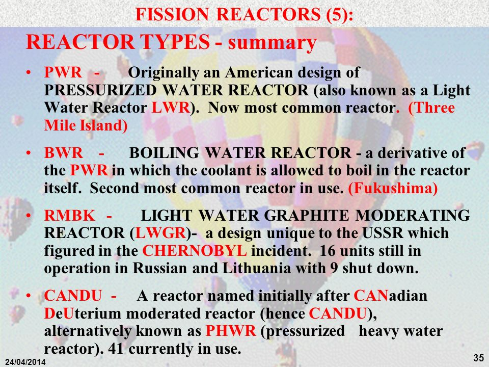 REACTOR TYPES - summary