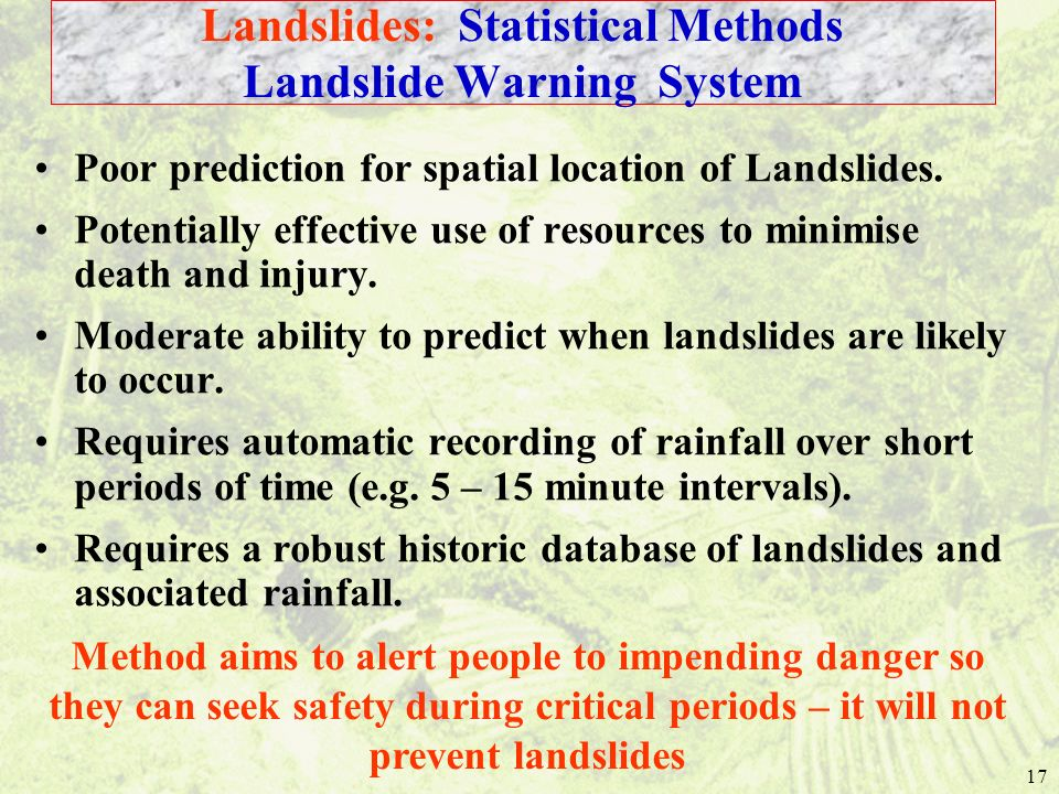 Landslides: Statistical Methods Landslide Warning System