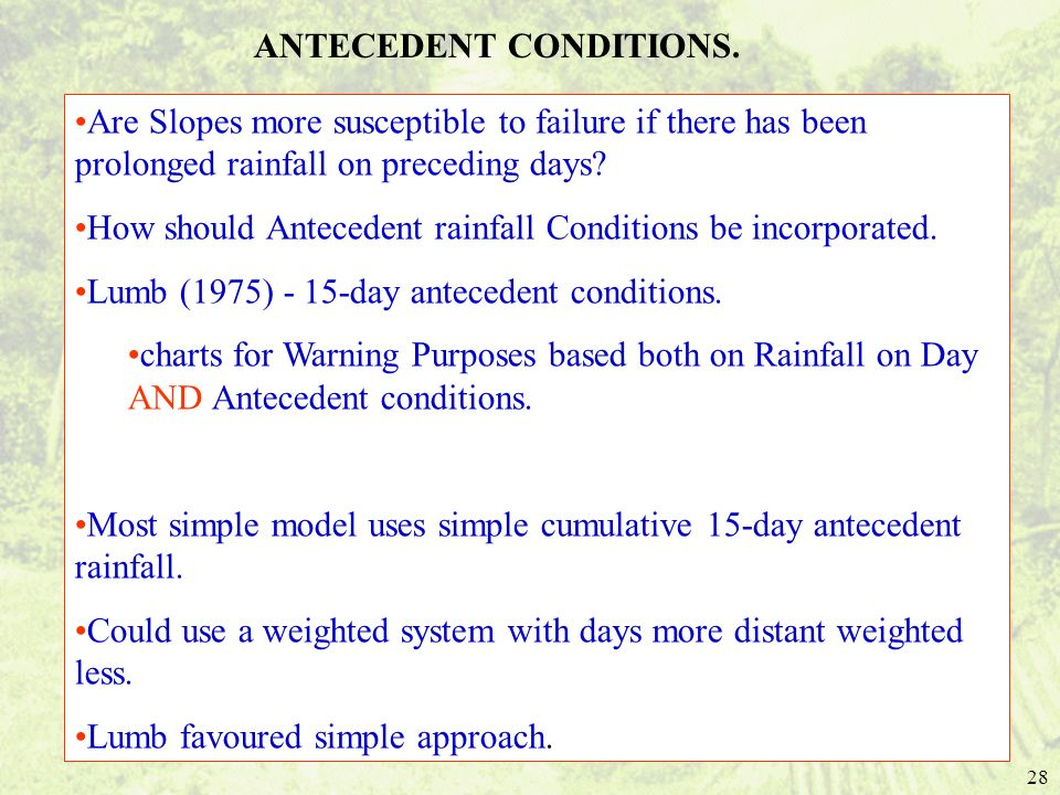 ANTECEDENT CONDITIONS.