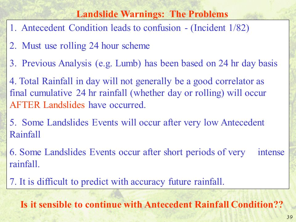 Landslide Warnings: The Problems