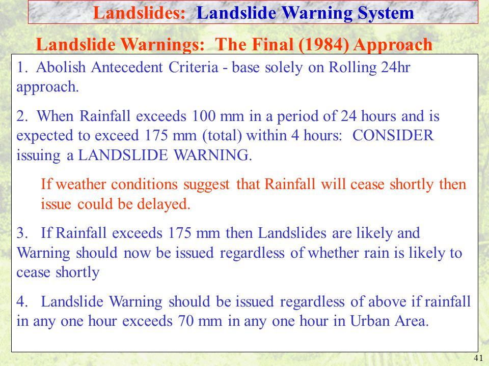Landslides: Landslide Warning System