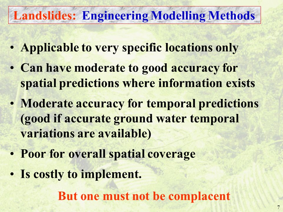 Landslides: Engineering Modelling Methods