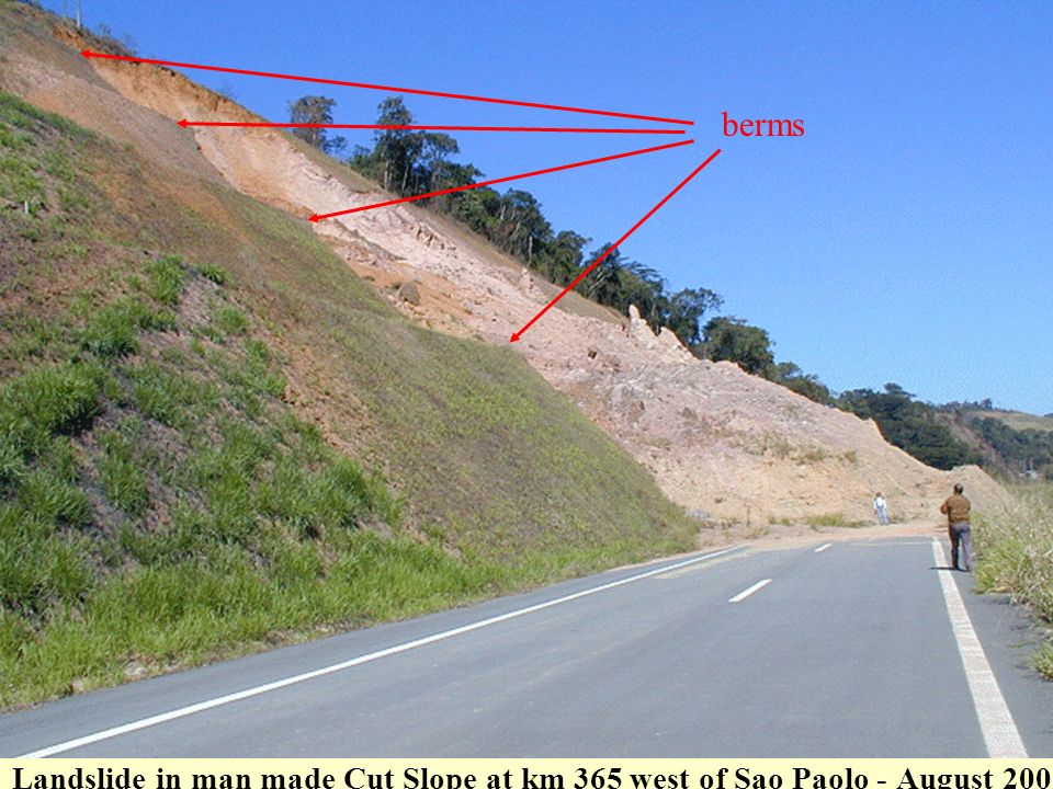 berms Landslide in man made Cut Slope at km 365 west of Sao Paolo - August 2002