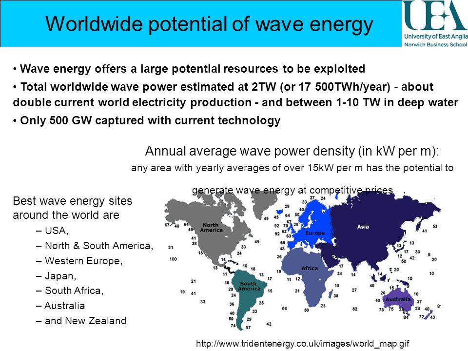 Worldwide potential of wave energy