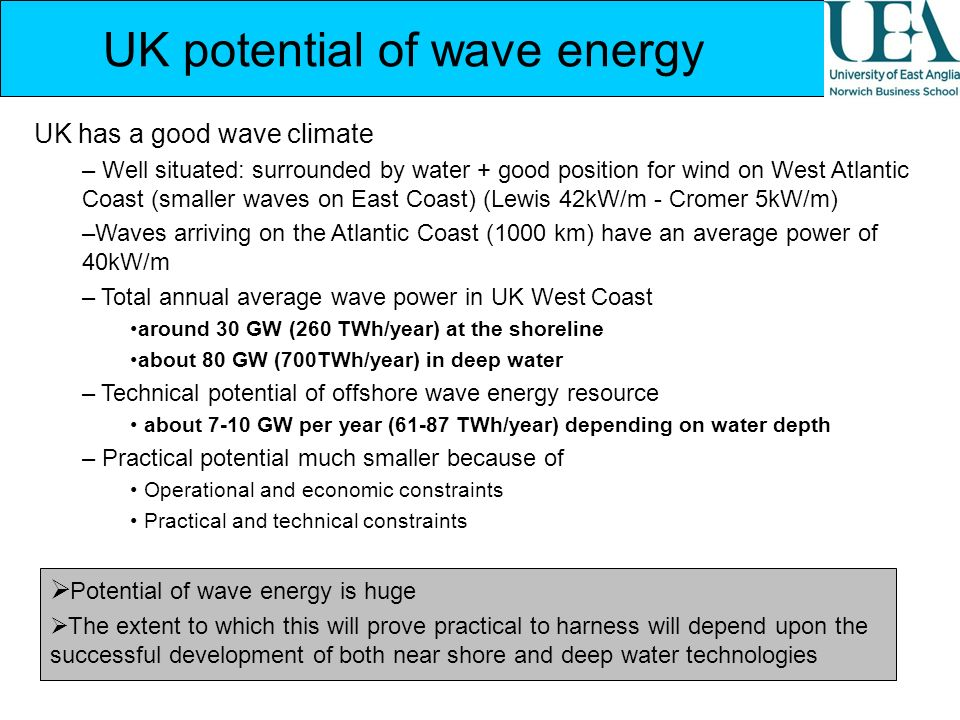 UK potential of wave energy