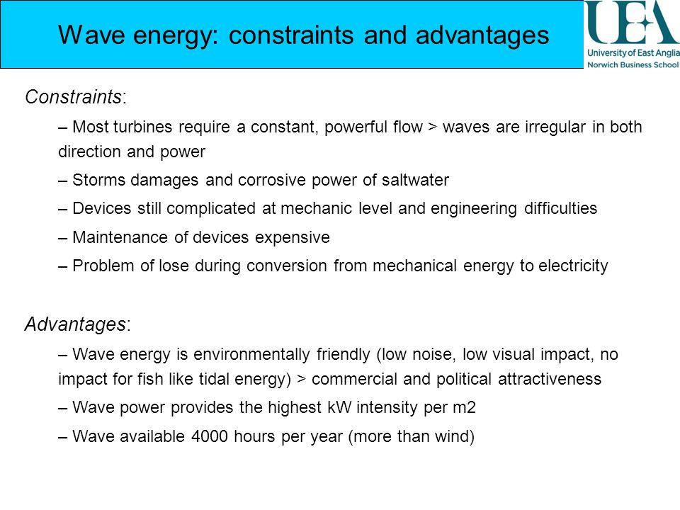 Wave energy: constraints and advantages