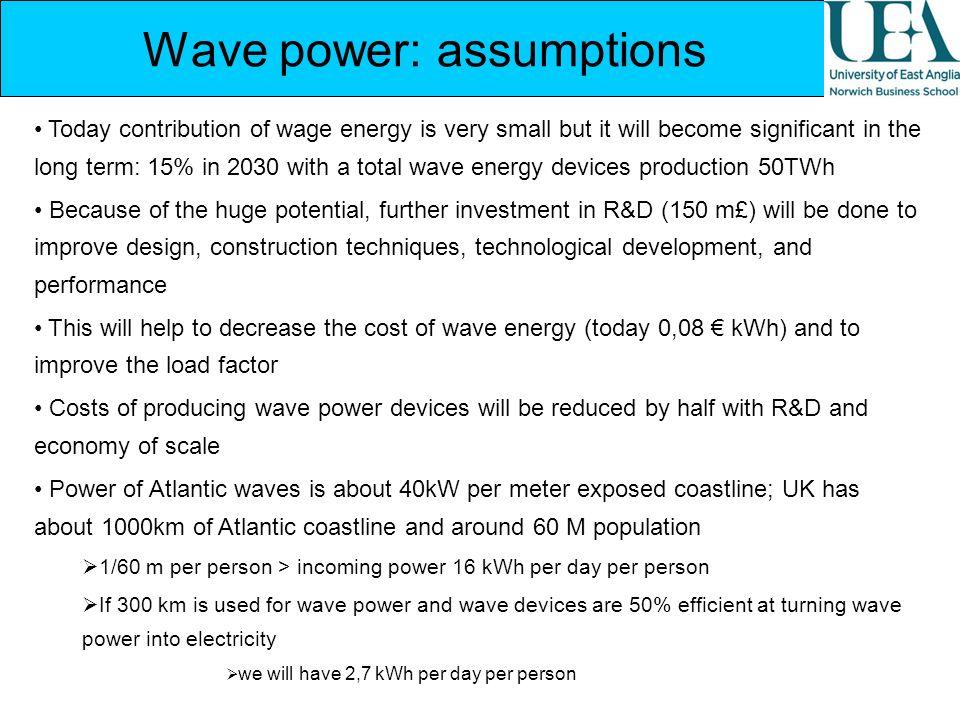 Wave power: assumptions