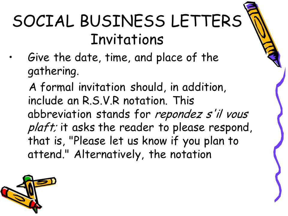 Social business letters ppt video online download social business letters invitations stopboris Images