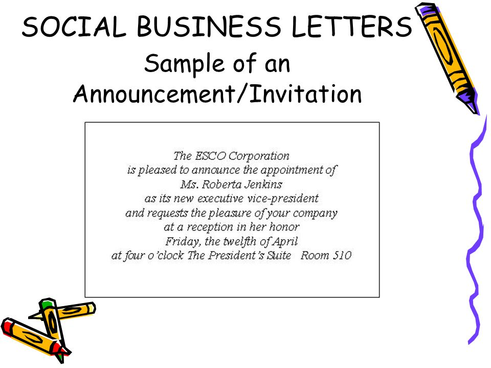 Social business letters ppt video online download 20 social business letters sample of an announcementinvitation stopboris Image collections