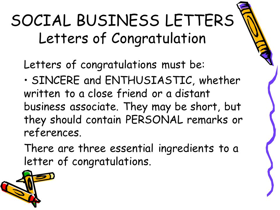 SOCIAL BUSINESS LETTERS Letters Of Congratulation