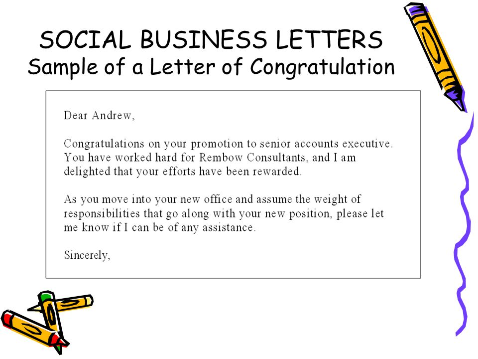 Social business letters ppt video online download 6 social business letters sample of a letter of congratulation spiritdancerdesigns Image collections