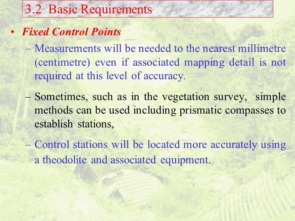 3.2 Basic Requirements Fixed Control Points