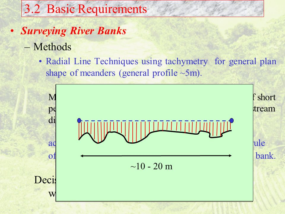 3.2 Basic Requirements Surveying River Banks Methods Decisions needed