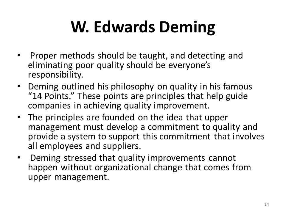 14 points of implementing quality improvement 4 implementing and sustaining changes  after quality improvement (qi)  at this point in the qi journey,.