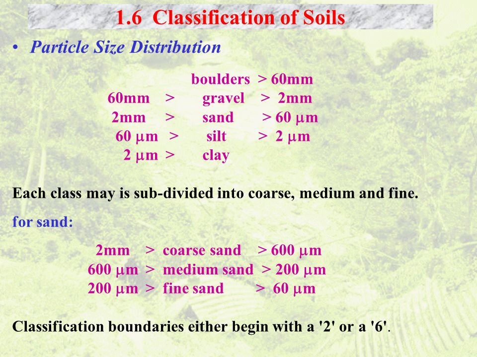 1.6 Classification of Soils