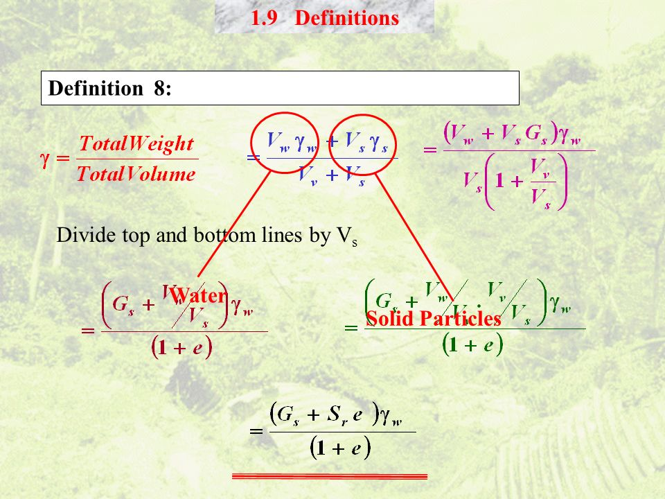 1.9 Definitions Definition 8: Water Solid Particles Divide top and bottom lines by Vs