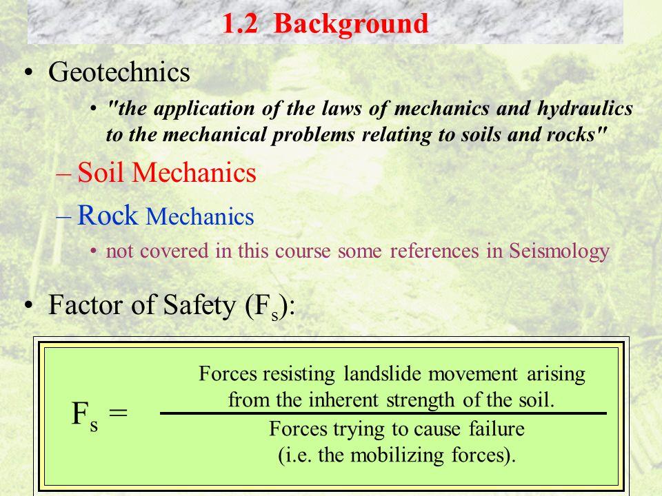 Fs = 1.2 Background Geotechnics Soil Mechanics Rock Mechanics