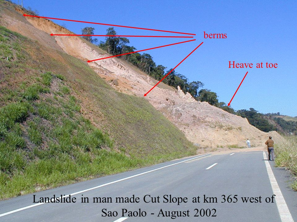 berms Heave at toe Landslide in man made Cut Slope at km 365 west of Sao Paolo - August 2002