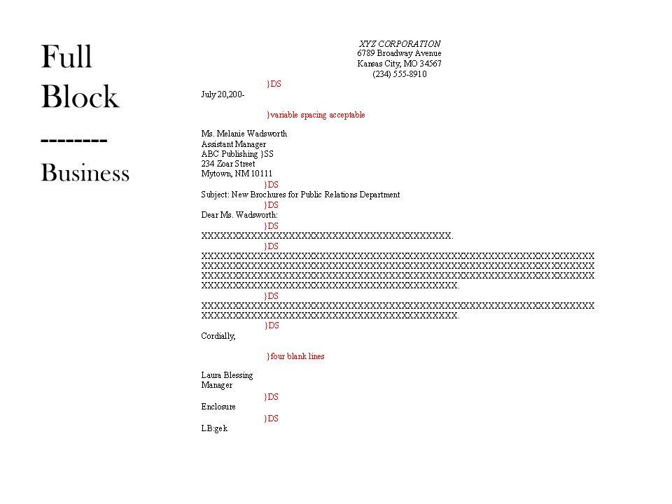 block business letters