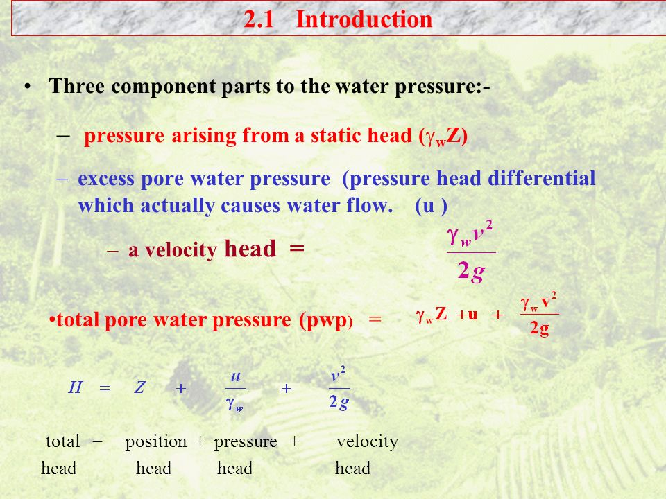 pressure arising from a static head (wZ)