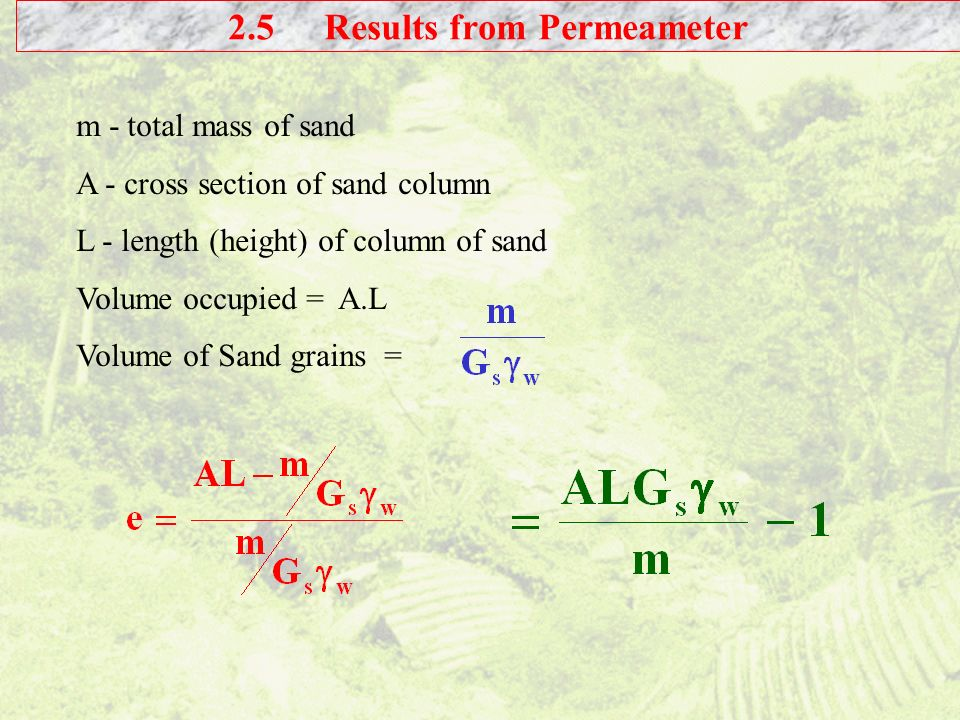 2.5 Results from Permeameter
